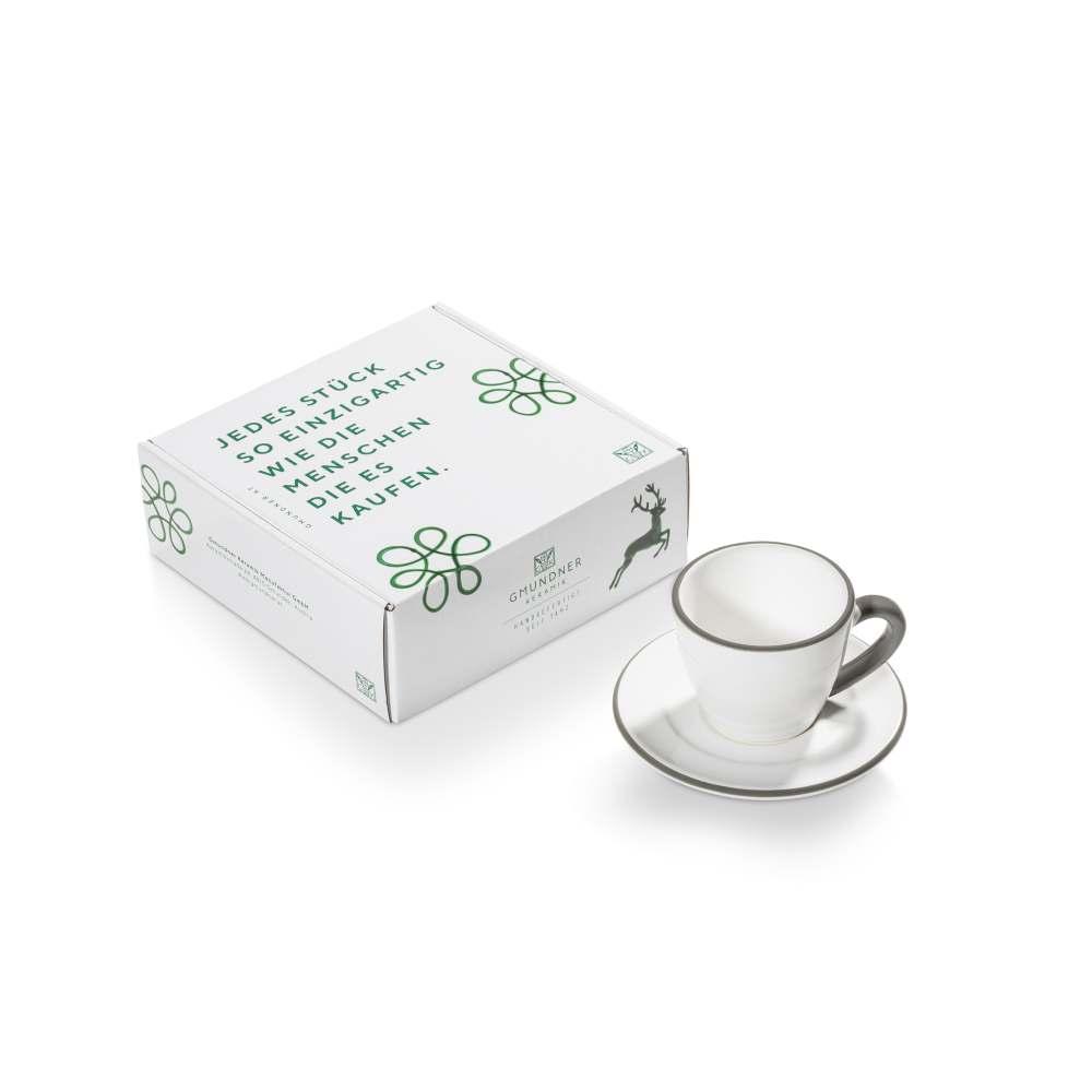 Espresso für Dich/2tlg.im Geschenkk. Grauer Rand Gmundner Keramik