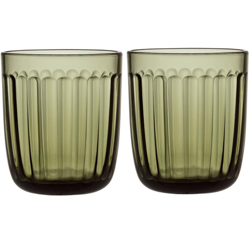 Glass – 260 ml – Moosgrün - 2 Stück Raami Gläser Iittala