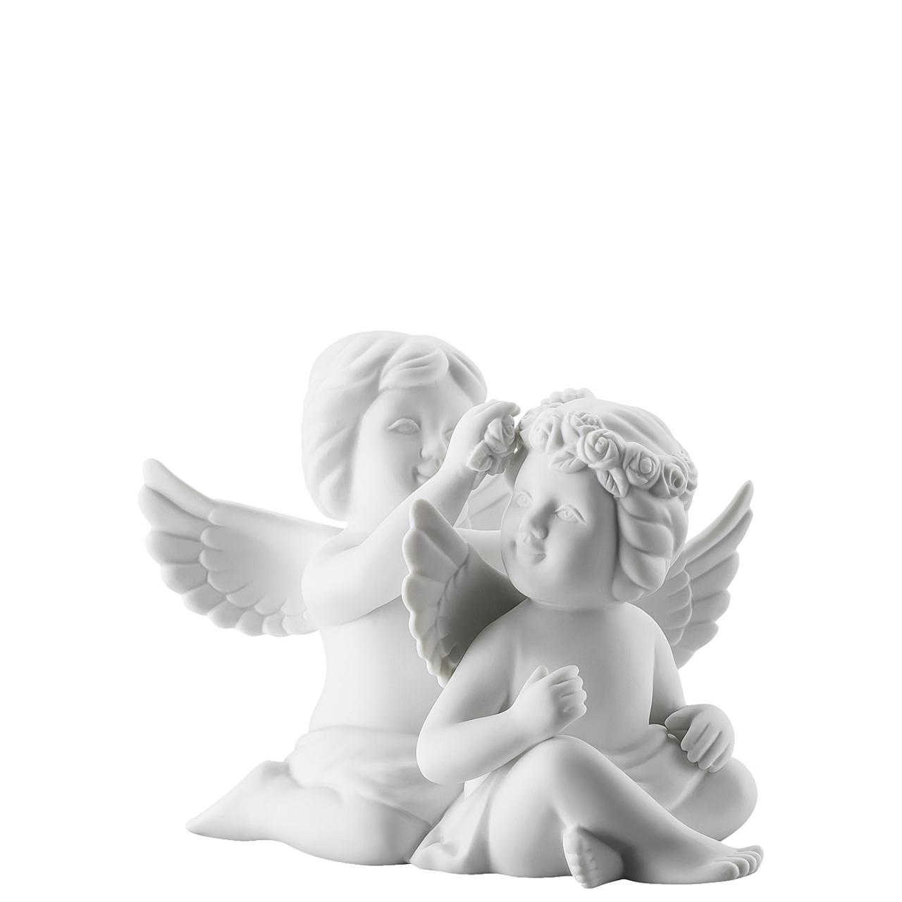 Engelpaar mit Blumen Engel mittel Weiss matt Rosenthal