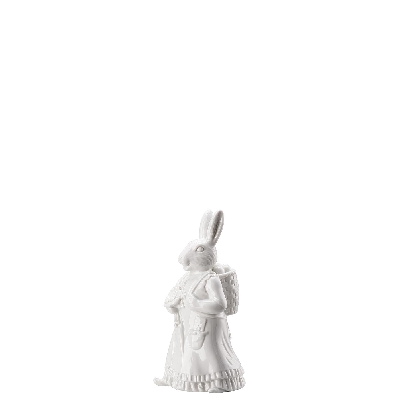 Hasenfrau mit Korb Hasenfiguren Weiss Hutschenreuther