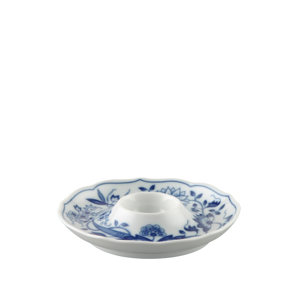 Eierbecher mit Ablage Blau Zwiebelmuster Hutschenreuther