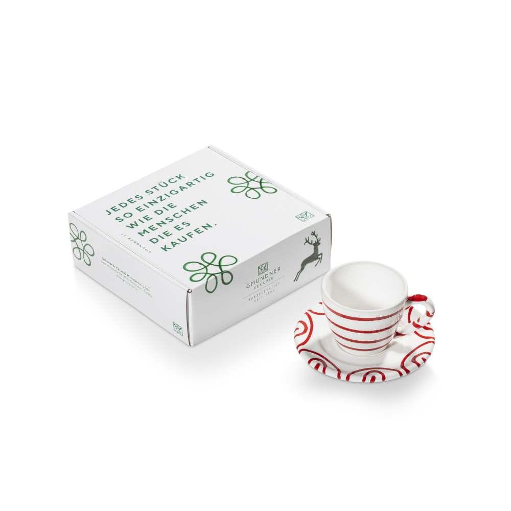 Espresso für Dich/2tlg.im Geschenkk. Rotgeflammt Gmundner Keramik