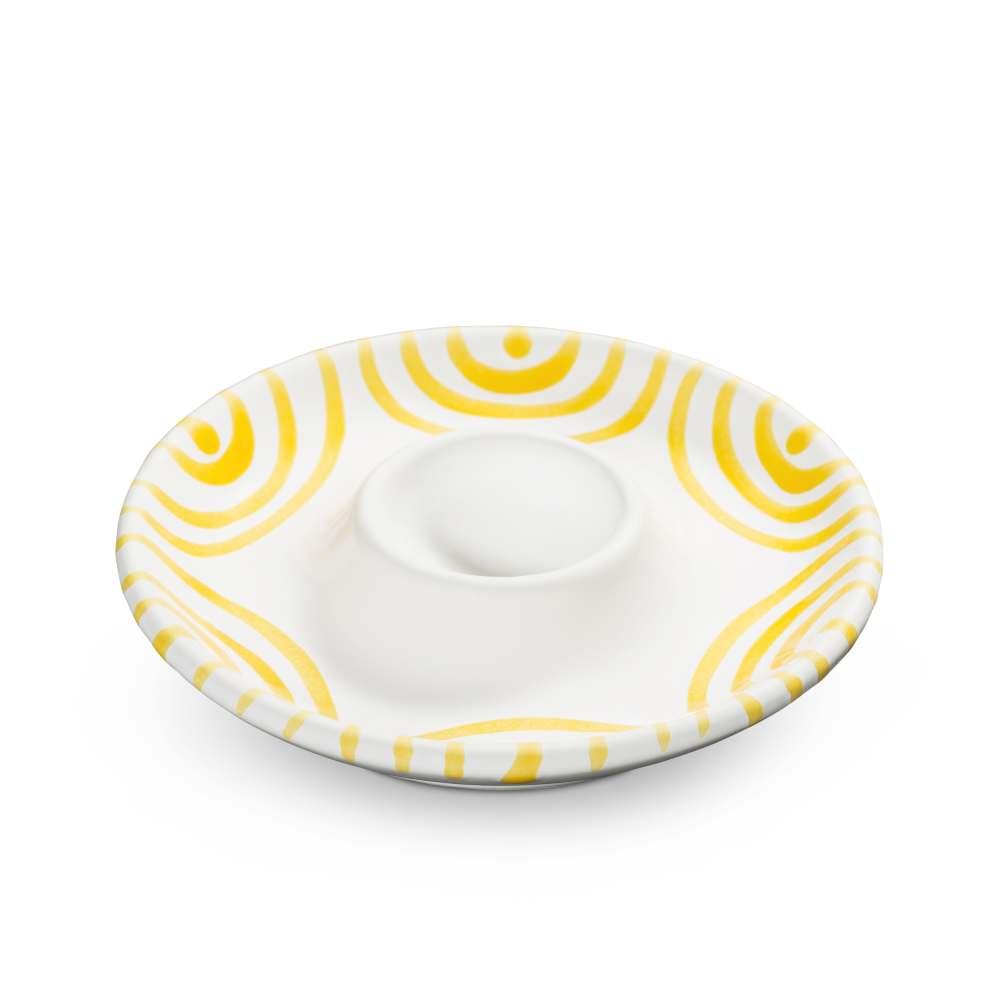 Eierbecher (Ø 12 cm) Gelbgeflammt Gmundner Keramik