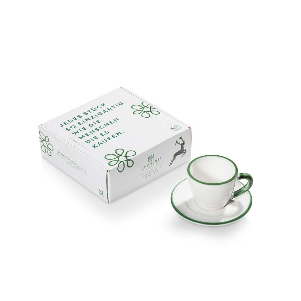Espresso für Dich/2tlg.i. Geschenkk. Grüner Rand Gmundner Keramik