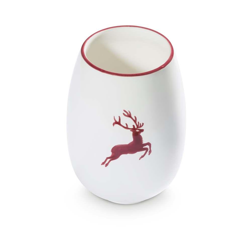 Vase 15cm Bordeauxroter Hirsch Gmundner Keramik