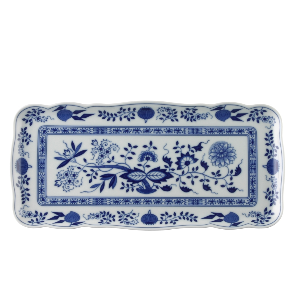 Kuchenplatte rechteckig Blau Zwiebelmuster Hutschenreuther