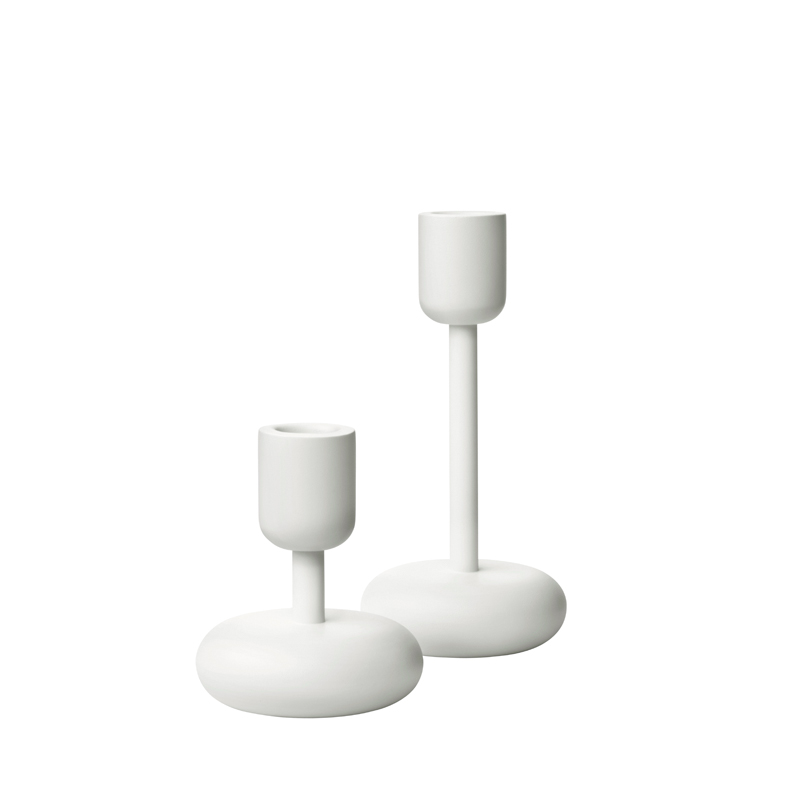 Kerzenständer Set – 10,7 cm & 18,3 cm - Weiss – 2tlg. Nappula Iittala