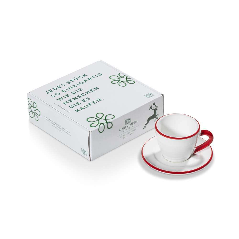 Espresso für Dich/2tlg.Geschenkk. Rubinroter Rand Gmundner Keramik