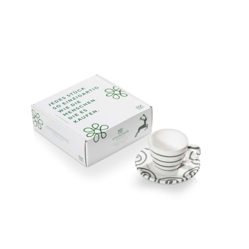 Espresso für Dich/2tlg.im Geschenkk. Graugeflammt Gmundner Keramik