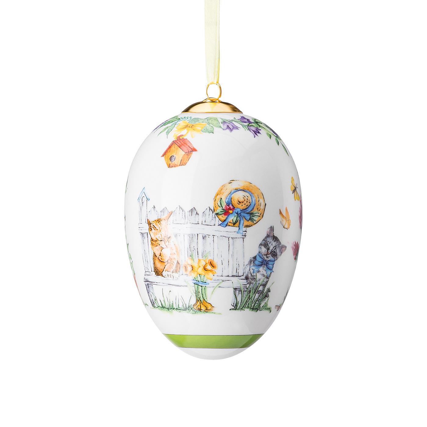 Porzellan-Midi-Ei Geschenkserie Kätzchen auf Holzbank Hutschenreuther