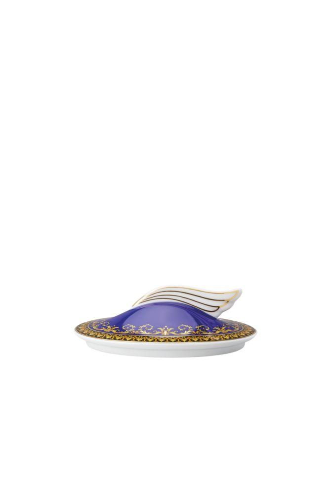 Zuckerdose 6 P. Deckel Ikarus Medusa blau Versace by Rosenthal