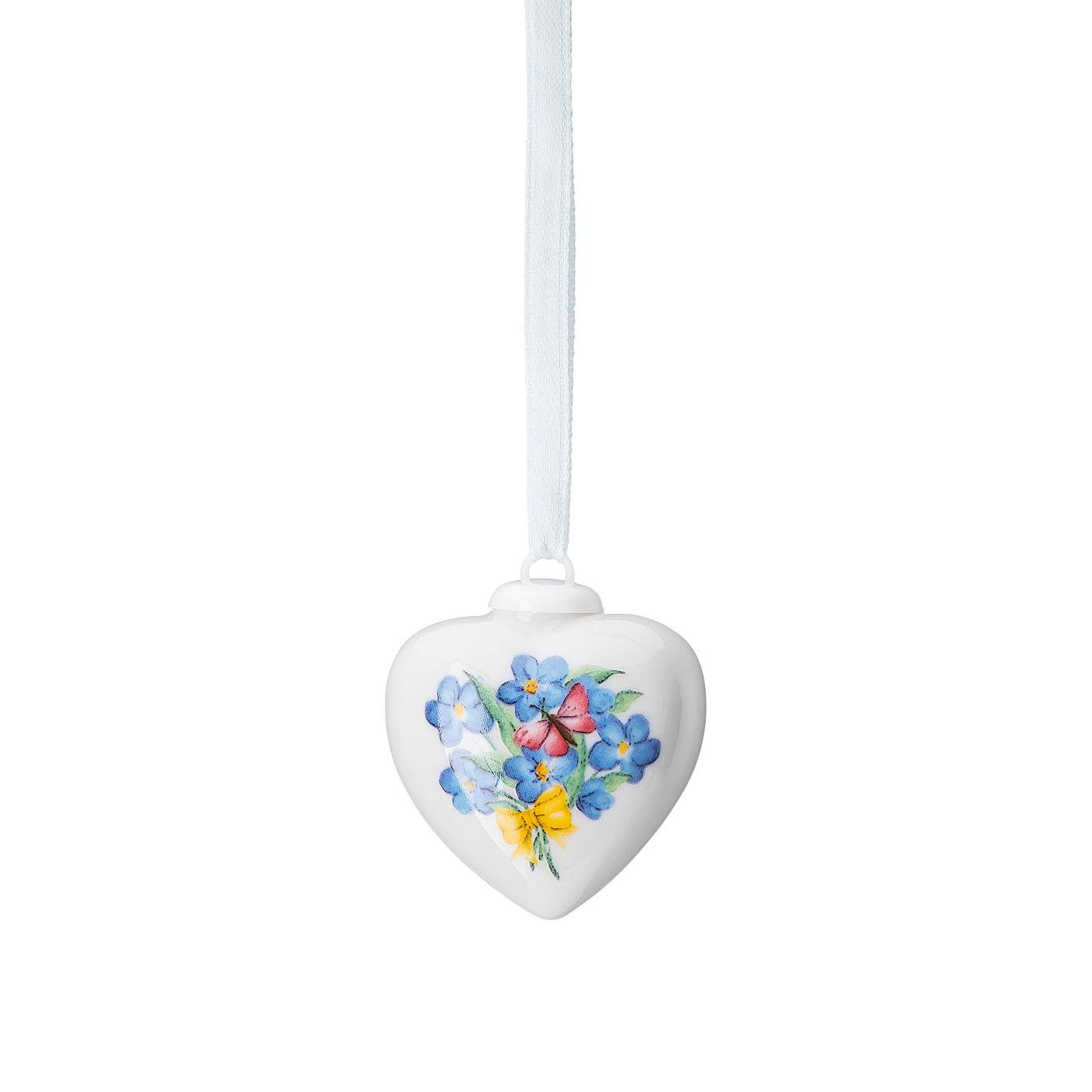 Porzellan-Mini-Herz Frühlingsgrüsse Vergissmeinnicht Hutschenreuther