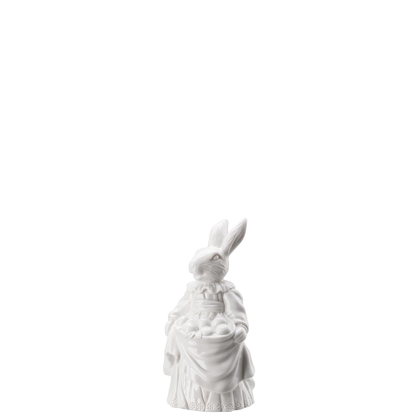Hasenfrau mit Eiern Hasenfiguren Weiss Hutschenreuther
