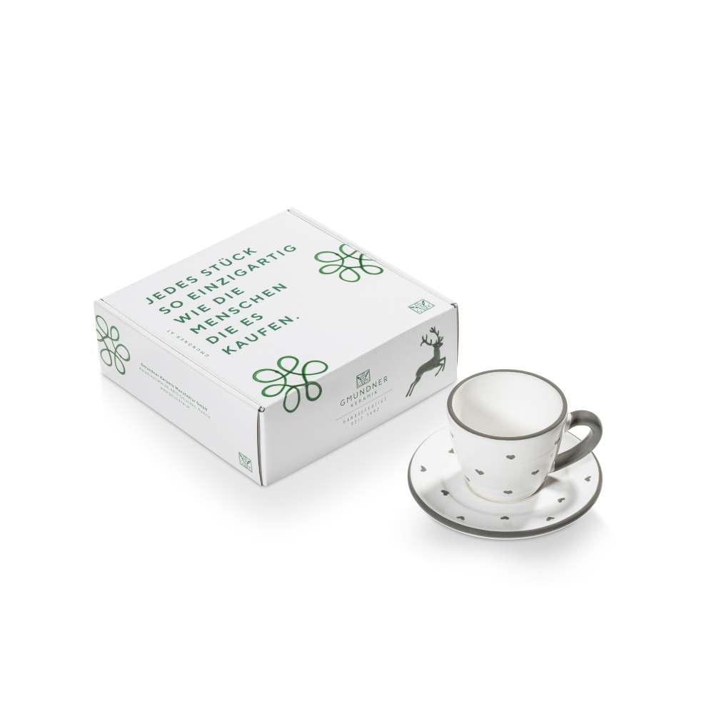 Espresso für Dich/2tlg.im Geschenkk. Herzerl Grau Gmundner Keramik