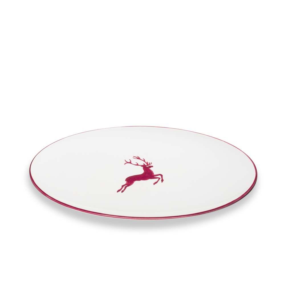 Platte oval (28x21cm) Bordeauxroter Hirsch Gmundner Keramik