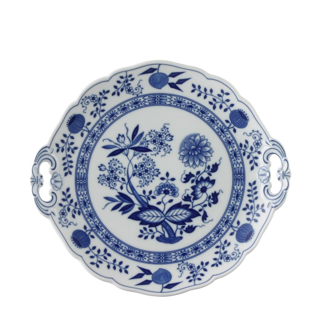 Kuchenplatte rund Blau Zwiebelmuster Hutschenreuther
