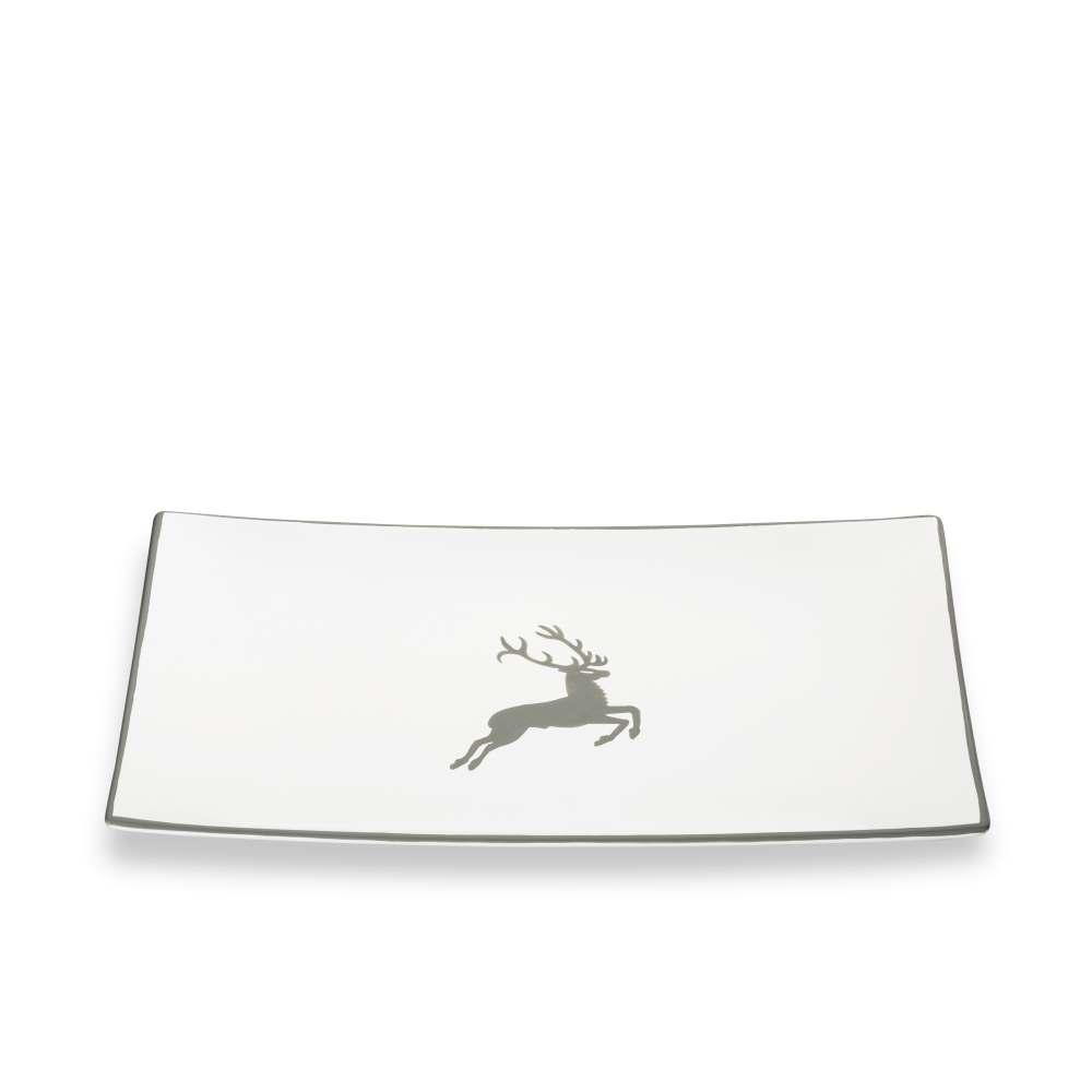 Platte rechteckig (30x20cm) Grauer Hirsch Gmundner Keramik