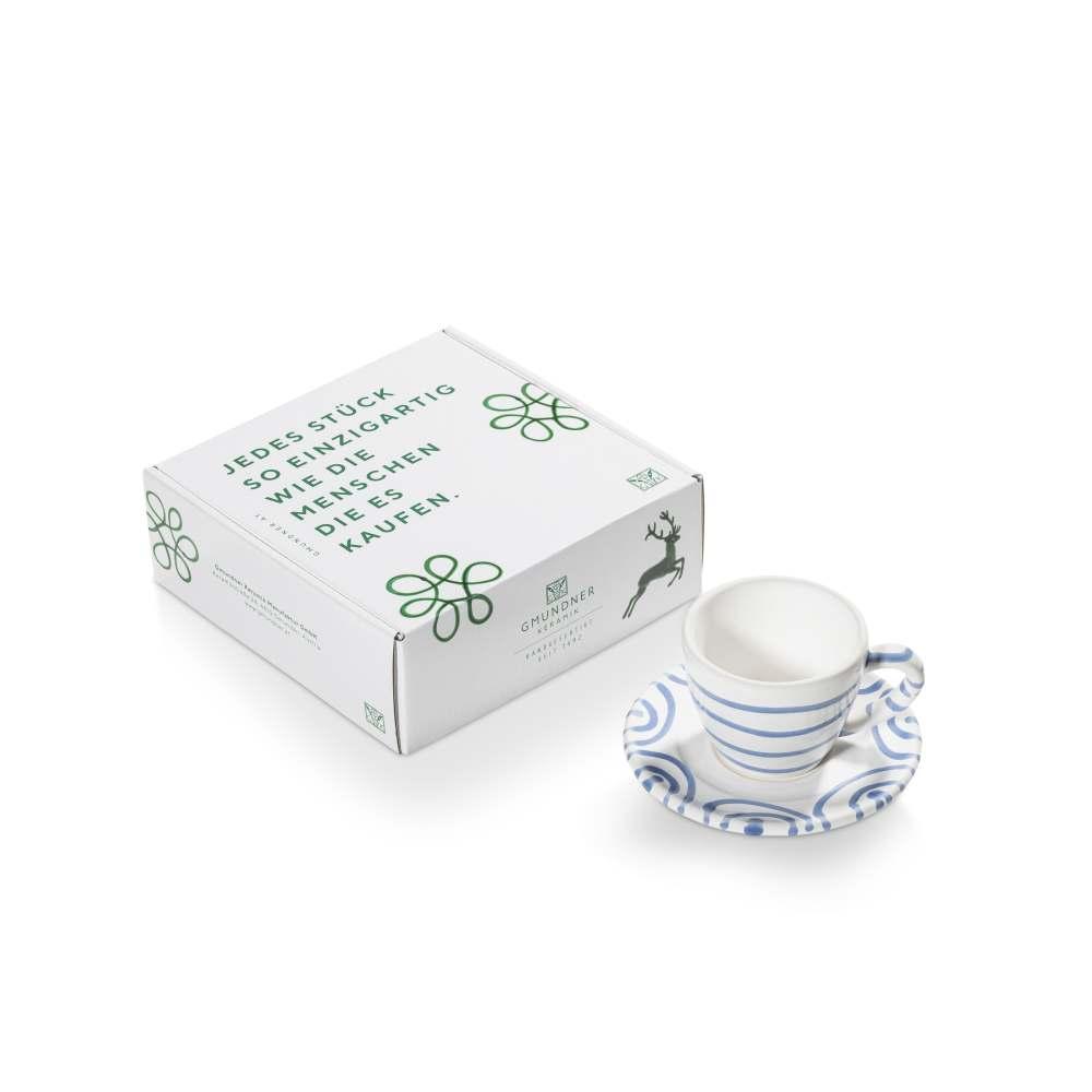 Espresso für Dich/2tlg.im Geschenkk. Blaugeflammt Gmundner Keramik