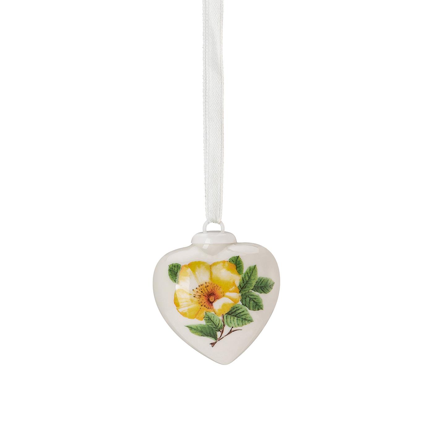 Porzellan-Mini-Herz Frühlingsgrüsse Heckenrose - gelb Hutschenreuther